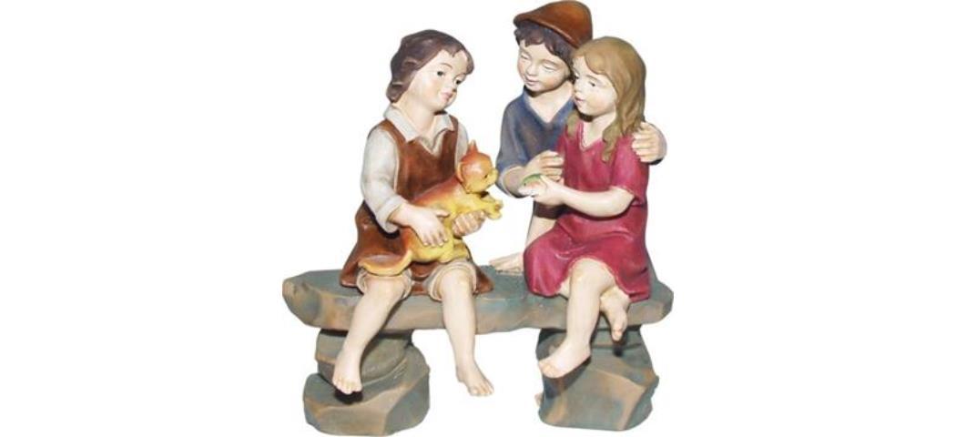 Krippenfiguren Kindergruppe, geeignet für 12cm Figuren, handbemalen (44789)
