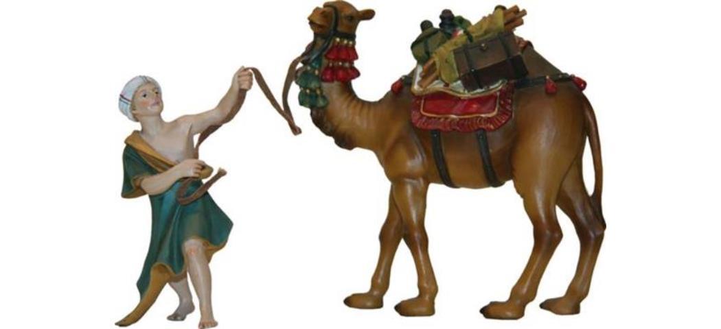 Krippenfiguren Kamel mit Treiber, geeignet für 12cm Figuren (44799)