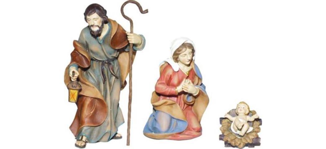 Krippenfiguren Heilige Familie 3tlg, für 8cm Figuren, handbemalen (44801)