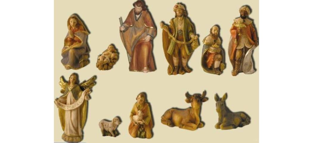 Krippenfiguren Krippenset 11tlg., geeigent für 15cm Figuren handbemalen (44808)