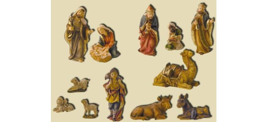 Krippenfiguren Krippenset 12tlg., geeignet für 12cm Figuren handbemalen (44812)