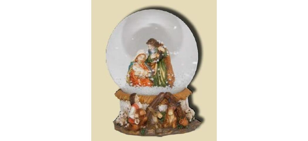 Schneekugel Heilige Familie, Höhe 11cm, handbemalen (44824)