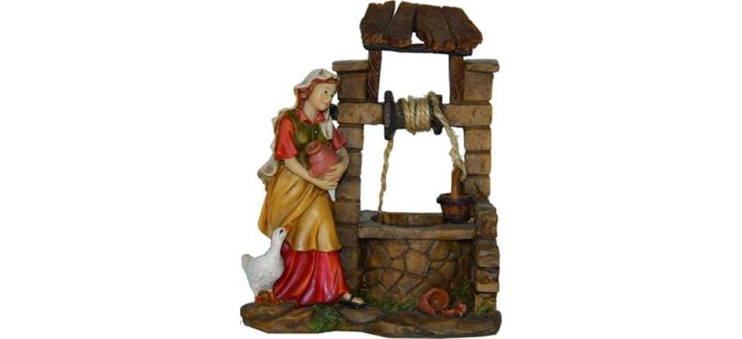 Krippenfiguren Brunnen mit Magd, geeignet für 11cm Figuren, handbemalen (44836)
