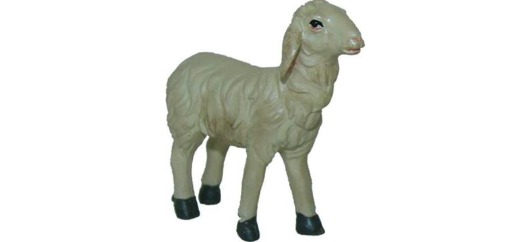 Krippenfiguren Schaf gerade schauend Höhe 4,6cm  für 11-13cm Figuren (44848)