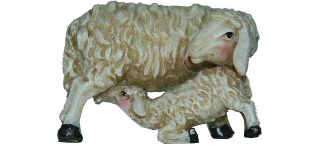 Krippenfiguren Mutterschaf mit Lamm Höhe 4,2cm geeignet für 15-20cm Figuren (44856)
