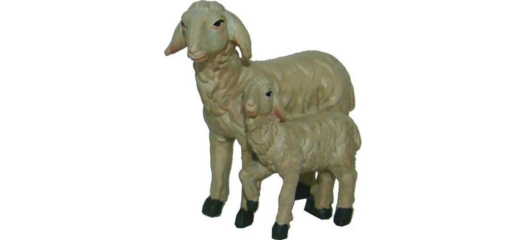 Krippenfiguren Doppelschaf Höhe 4,5cm geeignet für 11-13cm Figuren (44858)