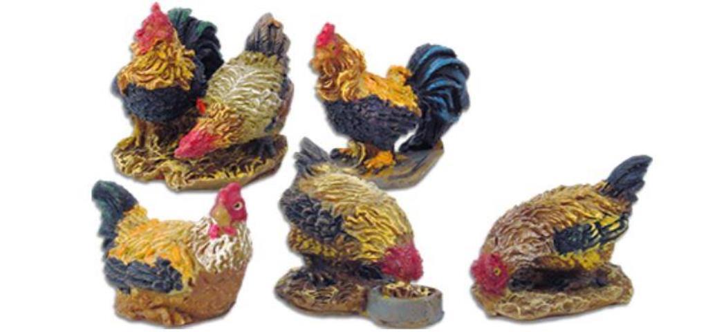 Krippenzubehör Gockel und Hühner 5tlg. Höhe 3,9cm geeignet für 11-13cm Figuren (44872)