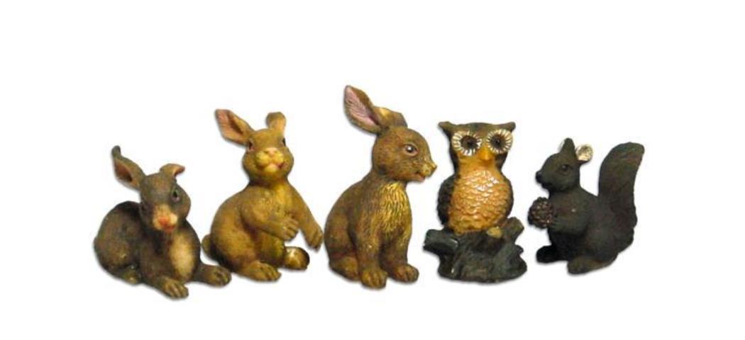 Krippenzubehör Waldtiere 5tlg. Höhe 4,2cm geeignet für 13-18cm Figuren (44876)