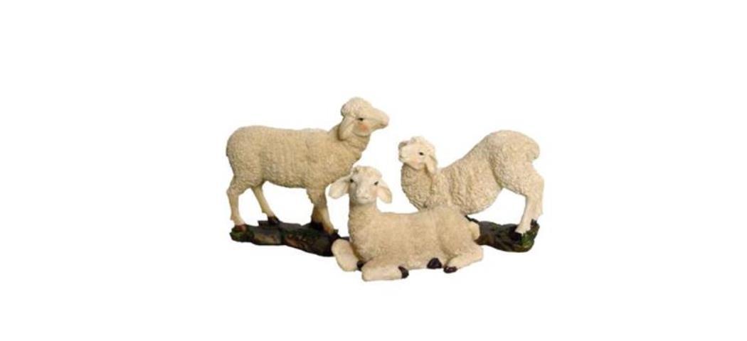 Krippenzubehör Schafe 3tlg. Höhe 12,8cm geeignet für 25-30cm Figuren (44880)