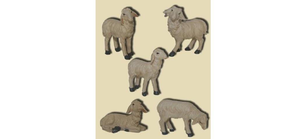 Krippenzubehör Schafe 5tlg. Höhe 6,6cm geeignet für 15-20cm Figuren (44885)