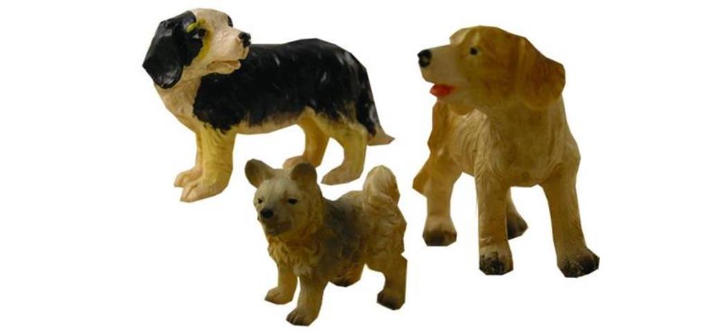 Krippenzubehör Hunde 3tlg. Höhe 4,7cm geeignet für 13-18cm Figuren (44890)