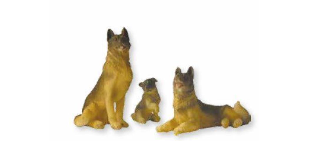 Krippenzubehör Schäferhunde 3tlg. Höhe 6,5cm geeignet für 13-18cm Figuren (44892)